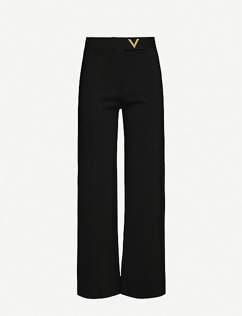 VALENTINO Logo-plaque wide-leg high-rise stretch-crepe trousers
