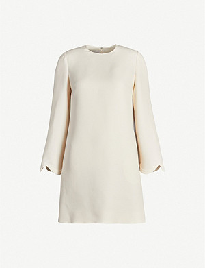 VALENTINO Scalloped-hem wool and silk-blend mini dress