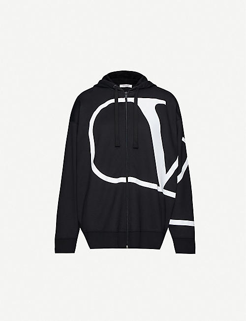 VALENTINO Dropped-shoulder brand-print jersey hoody