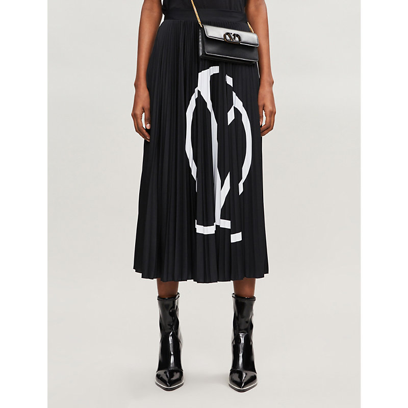 Valentino Skirts V LOGO-PRINT PLEATED CREPE MIDI SKIRT