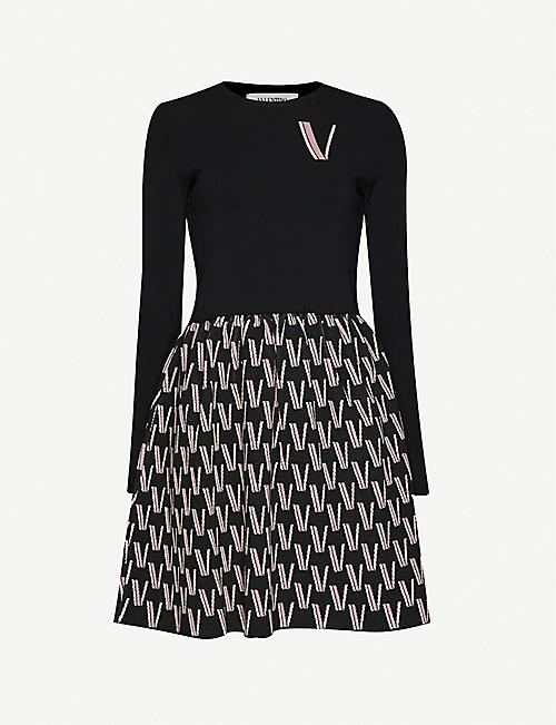 VALENTINO Logo-intarsia knitted mini dress