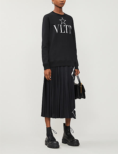 VALENTINO Logo-print cotton-blend jersey jumper