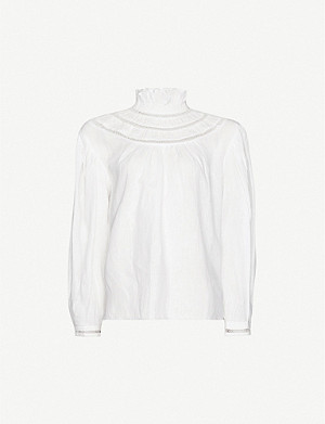ISABEL MARANT ETOILE Amalia high-neck flared-trim linen blouse