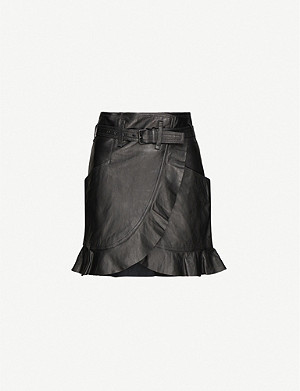 ISABEL MARANT ETOILE Qing wrap-over leather mini skirt