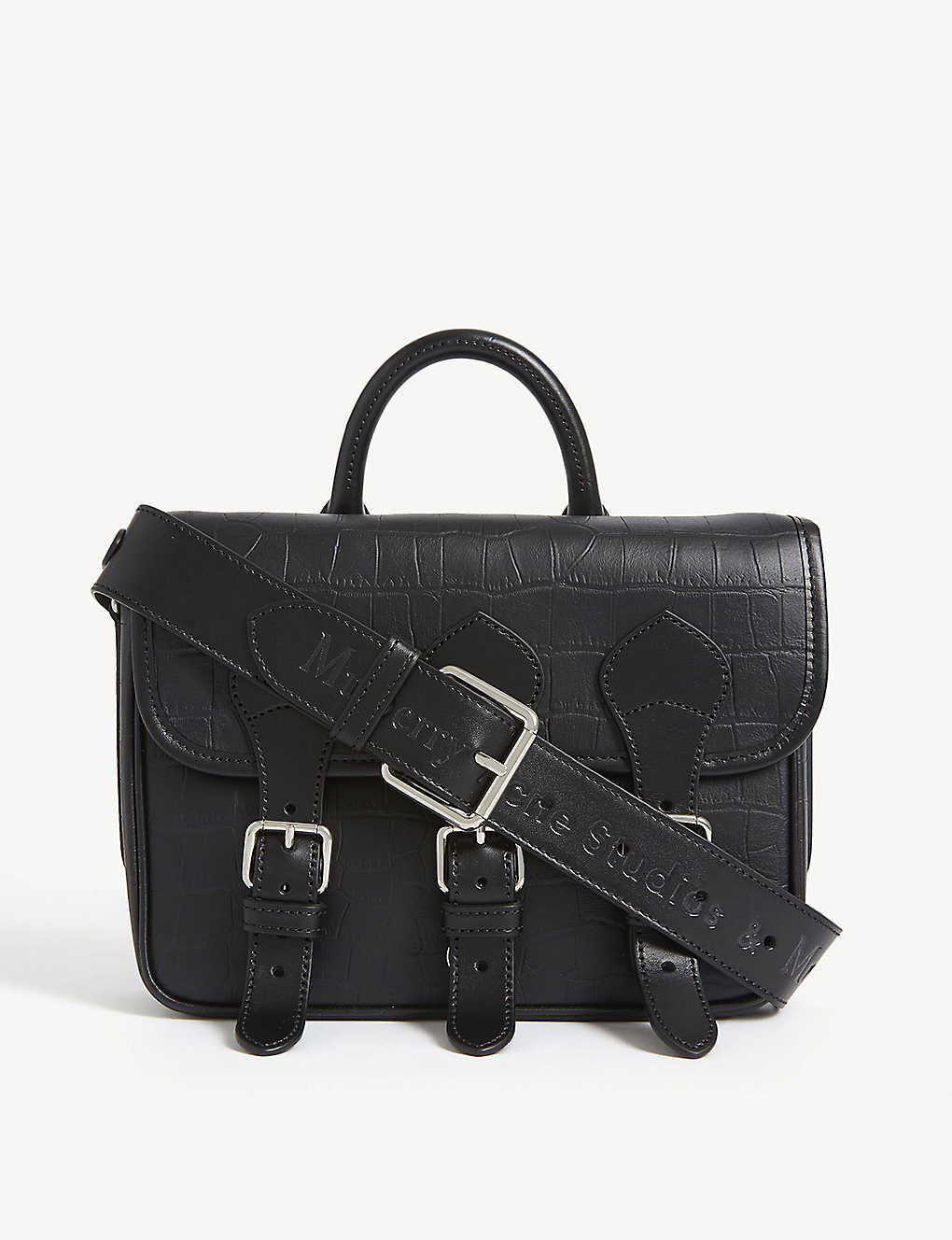 MULBERRY: Mulberry x Acne croc-embossed leather messenger bag