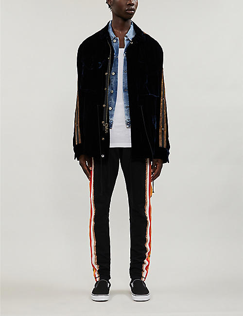 GREG LAUREN Stripe-embellished cotton-jersey jogging bottoms