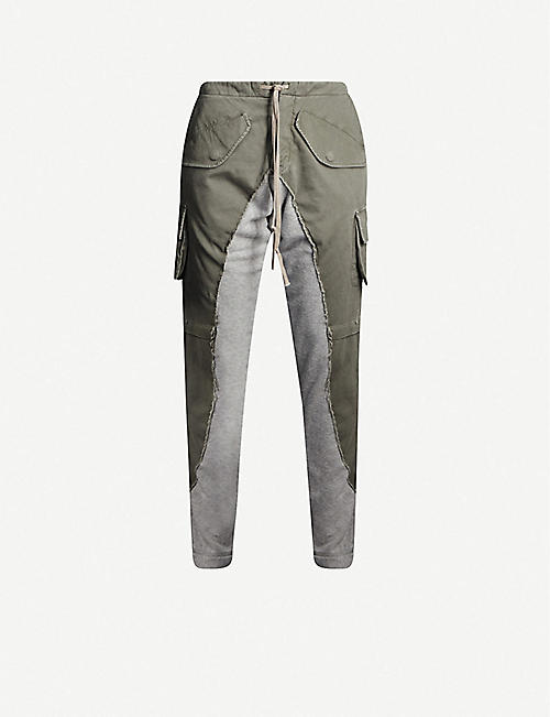 GREG LAUREN Deconstructed cotton-jersey cargo trousers