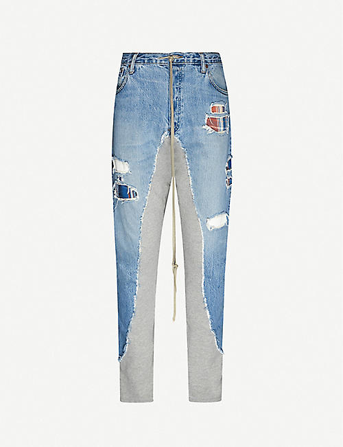 GREG LAUREN: Contrast jogging-bottom relaxed-fit jeans