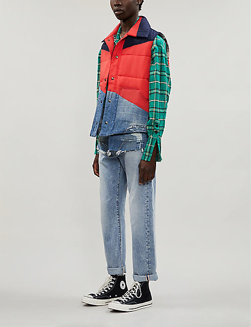 GREG LAUREN Padded denim and shell-blend gilet