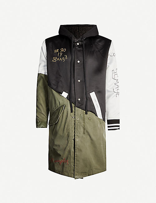 GREG LAUREN Patchwork shell and cotton coat