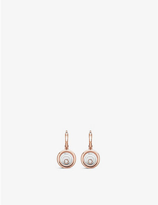 CHOPARD: Happy Spirit 18ct rose and white-gold and diamond earrings