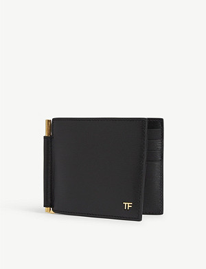 TOM FORD T-line money clip leather wallet