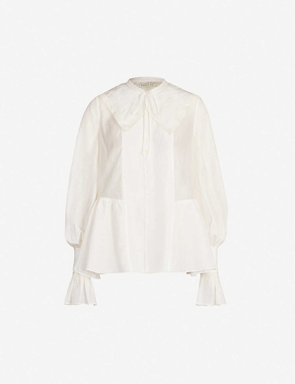 RENLI SU: Oversized-collar flared-cuff silk and linen-blend blouse