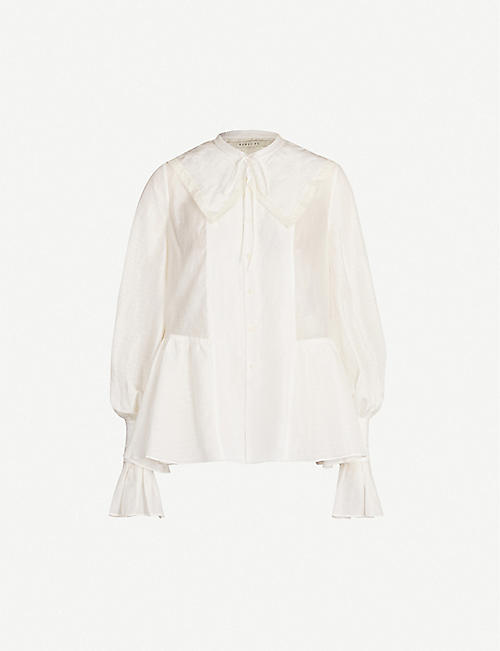 RENLI SU Oversized-collar flared-cuff silk and linen-blend blouse