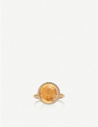 THE ALKEMISTRY: Noush 14ct yellow-gold, citrine and 0.15ct diamond sunshine ring