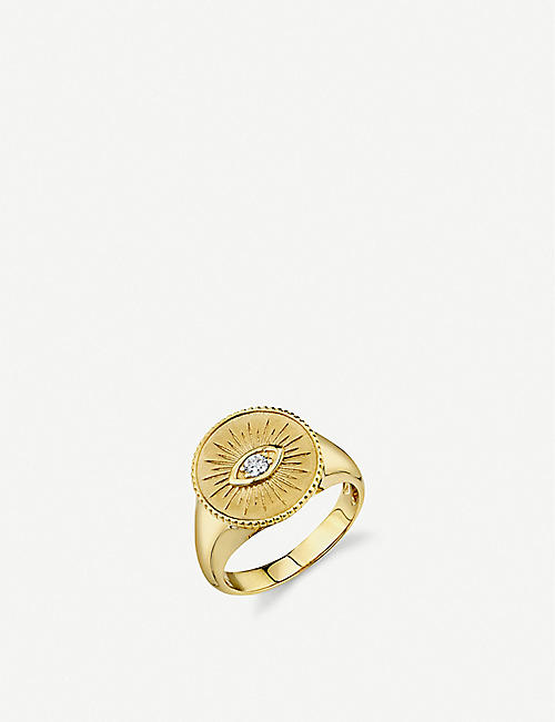 THE ALKEMISTRY: Sydney Evan Evil Eye 14ct yellow-gold and diamond coin ring