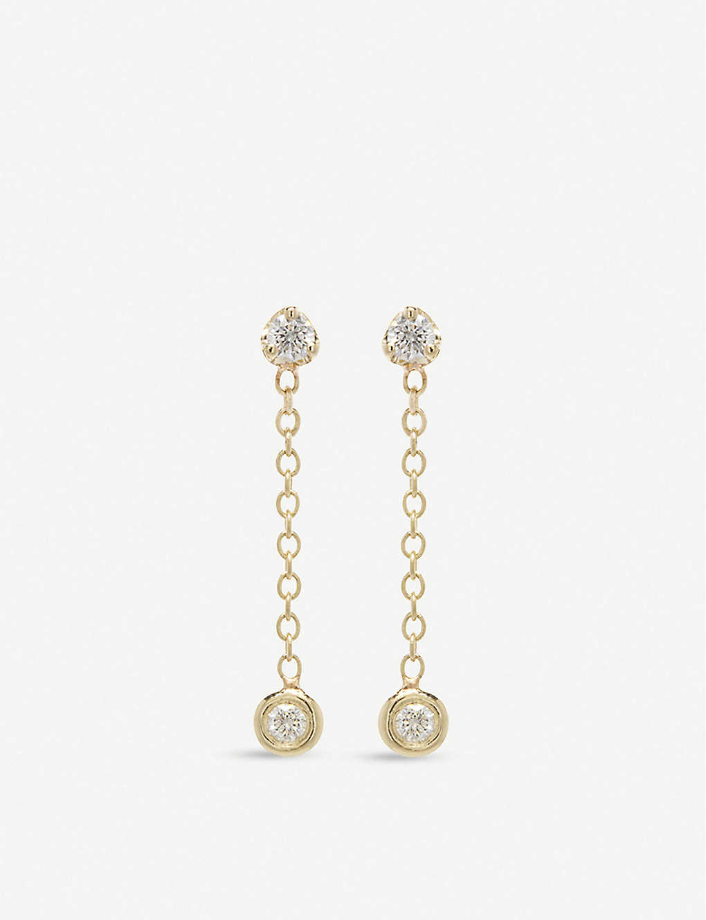 THE ALKEMISTRY: Zoë Chicco small 14ct yellow-gold and diamond drop earrings