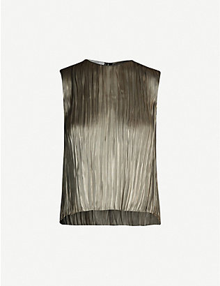 VINCE: Pleated metallic satin top