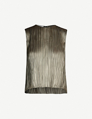 VINCE Pleated metallic satin top