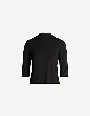 VINCE: High-neck stretch-jersey top