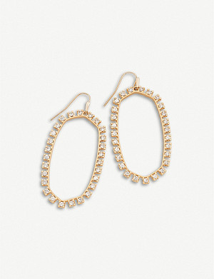 KENDRA SCOTT Danielle Open Frame Crystal cubic zirconia and rhodium-plated earrings