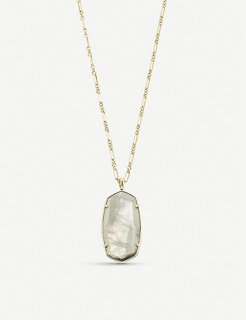 KENDRA SCOTT: Faceted Reid grey illusion and 14ct gold-plated necklace