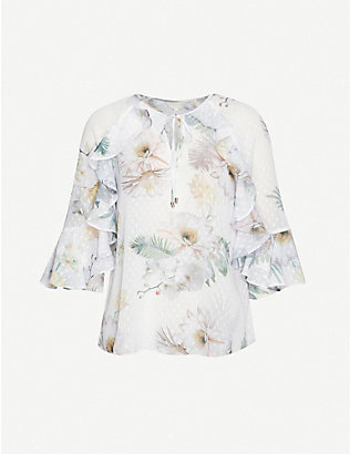 TED BAKER: Woodland floral ruffle blouse