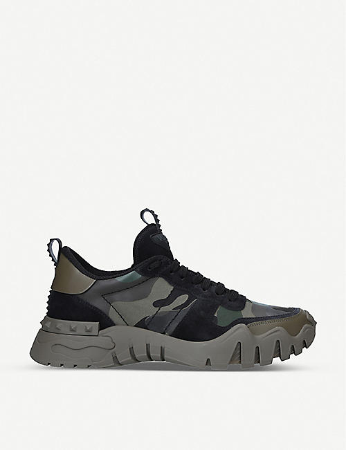 VALENTINO GARAVANI: Camouflage-print textile and suede trainers