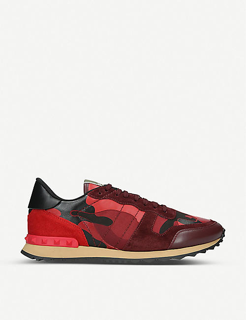 VALENTINO Rockrunner camouflage-print suede and leather trainers