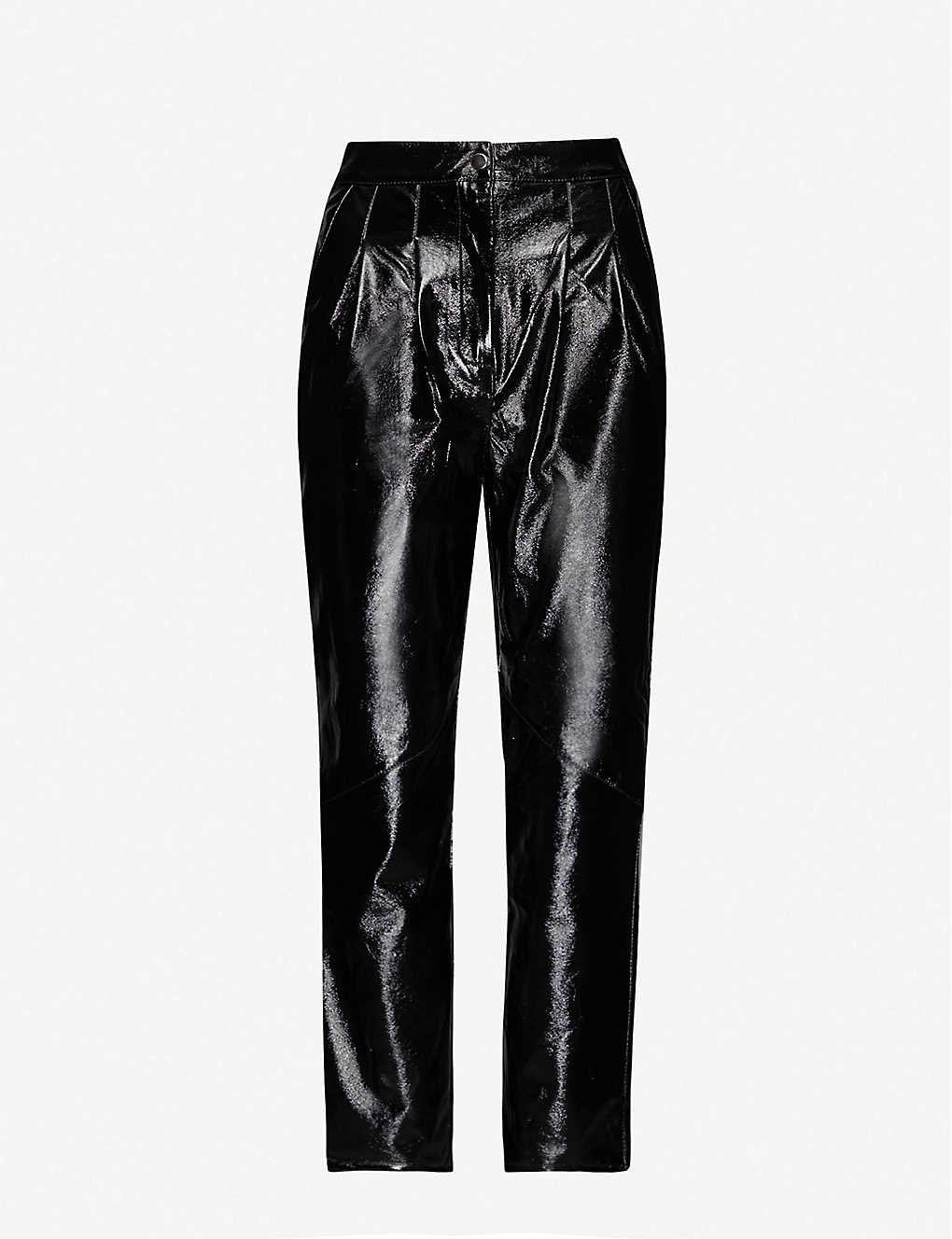 TOPSHOP: Tapered high-rise vinyl trousers