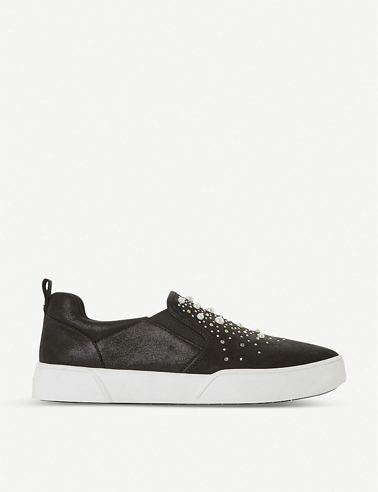 Dune Eshan slip-on studded faux-suede trainers