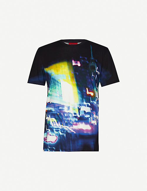 HUGO: Urban-print cotton-jersey T-shirt