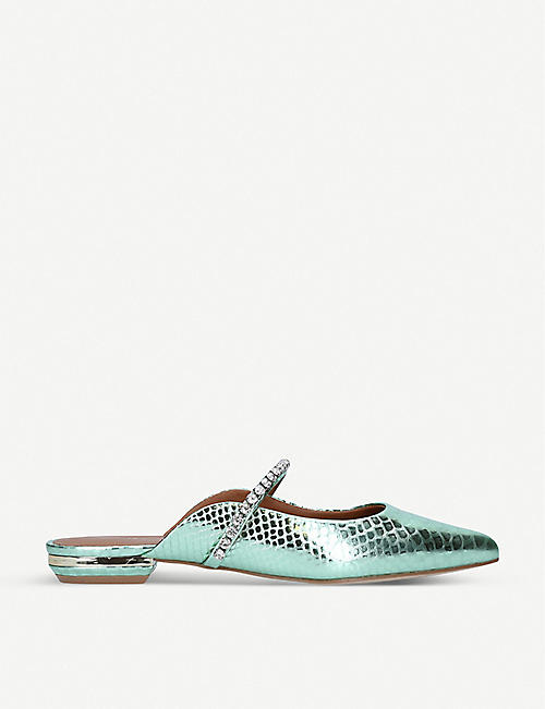 KURT GEIGER LONDON: Princely 2 snake-print faux-leather mules