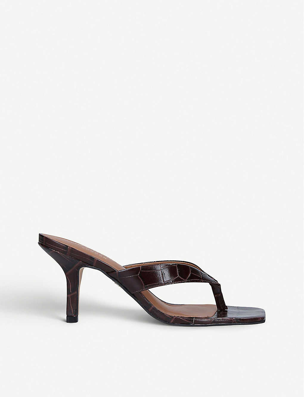 KURT GEIGER LONDON: Bianka croc-embossed leather mules