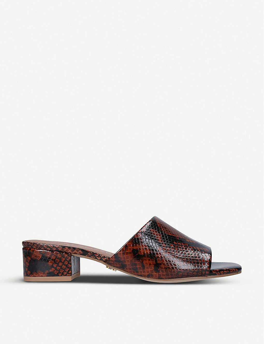 KURT GEIGER LONDON: Palma snakeskin-embossed leather heeled mules