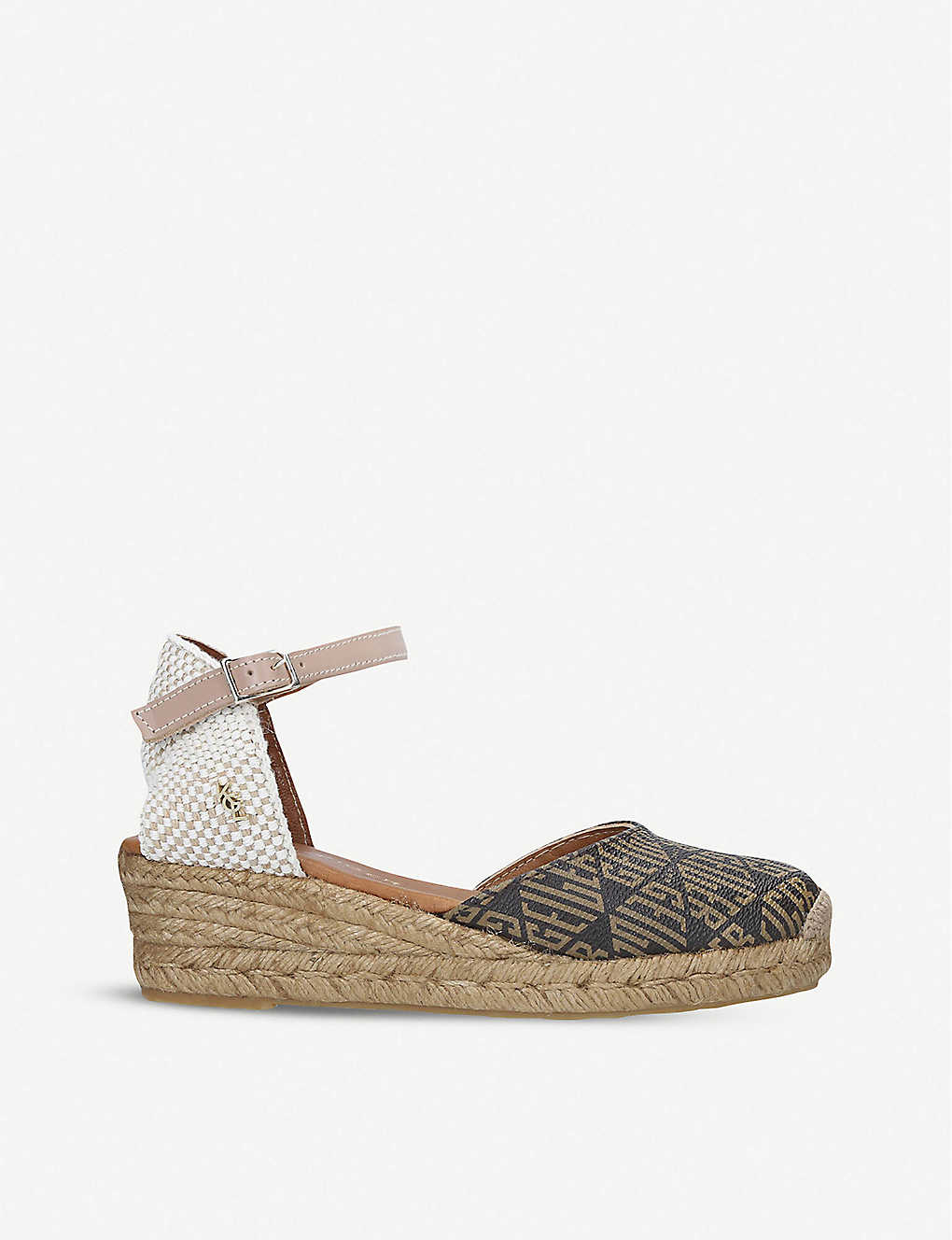 KURT GEIGER LONDON: Minty Monogram espadrille wedges