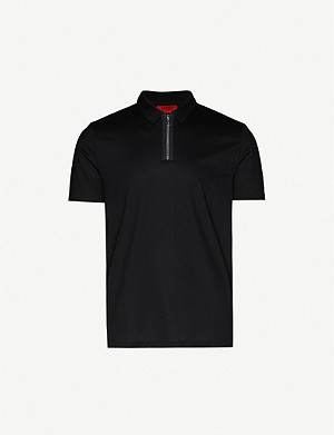 HUGO Zipped collar cotton-blend polo shirt