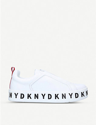 DKNY: Bashi logo-embellished leather trainers