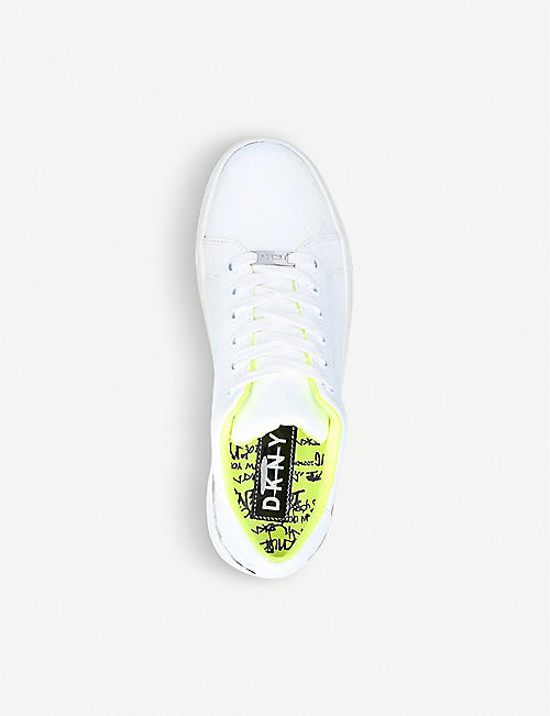 DKNY Binda neon low-top leather trainers