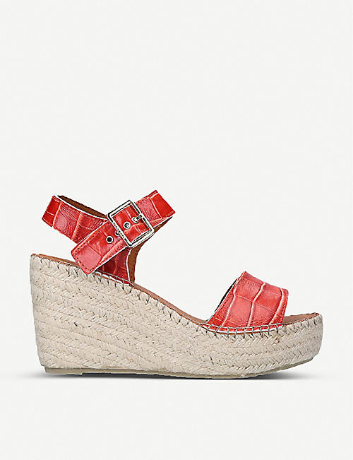 CARVELA: Kape croc-embossed leather espadrille wedge sandals