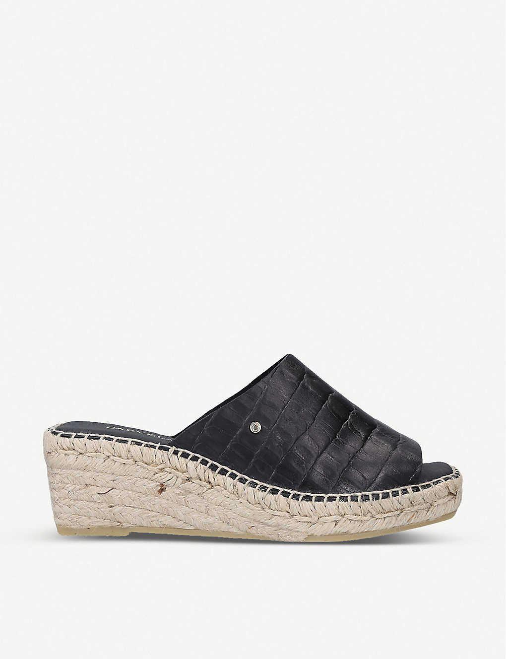 CARVELA: Konform croc-embossed leather wedge sandals