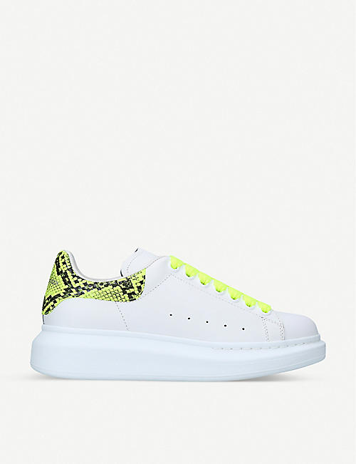ALEXANDER MCQUEEN Runway neon python-embossed leather trainers