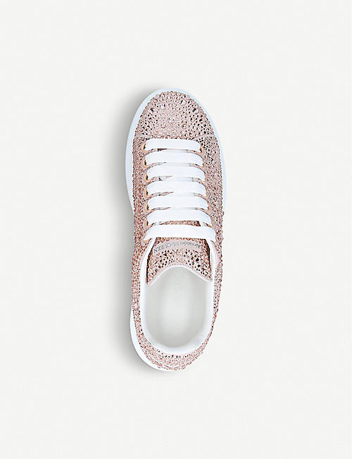 ALEXANDER MCQUEEN Runway crystal-embellished leather trainers