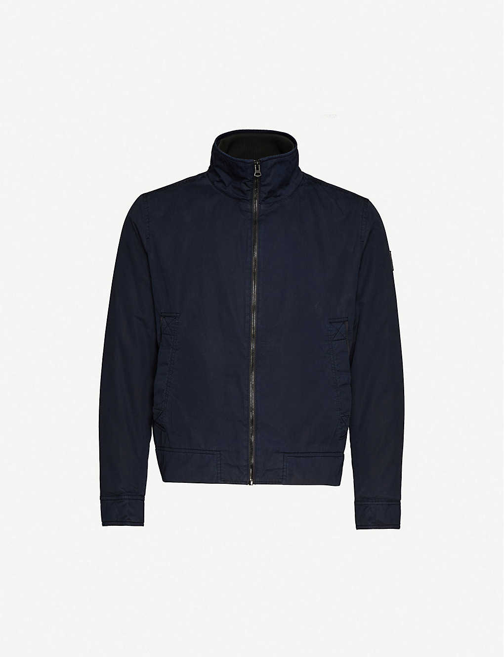 BOSS: Funnel-neck cotton jacket