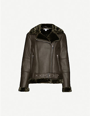 TOPSHOP: Cora faux-leather biker jacket