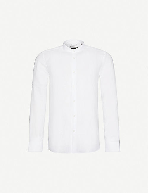 BOSS: Slim-fit stand collar linen shirt