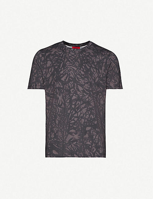 HUGO: Graphic-print cotton-jersey T-shirt