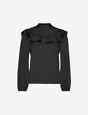 TOPSHOP Frilled high-neck crepe blouse