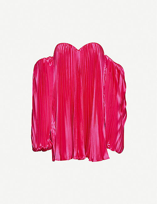 FYODOR GOLAN Flamingo pleated satin mini dress