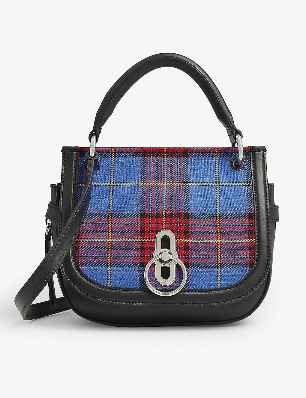 MULBERRY: Amberley tartan-printed small leather satchel